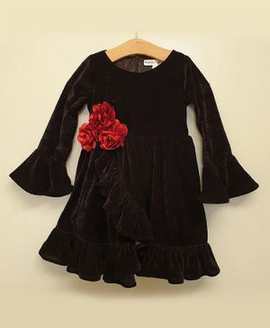 My Pink Closet Full Sleeves Ruffle Style Flower Detailed Velvet Dress - Black