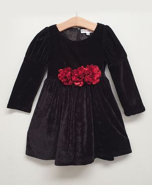 My Pink Closet Full Sleeves Velvet Flower Detailed Dress - Black