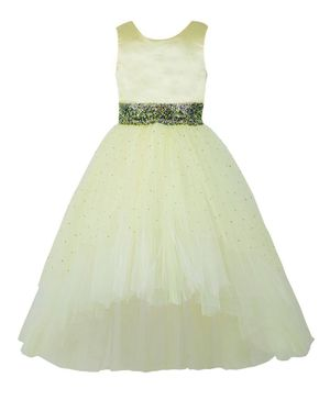 Toy Balloon Sleeveless Embellished High Low Fit & Flared Tulle Dress - Yellow