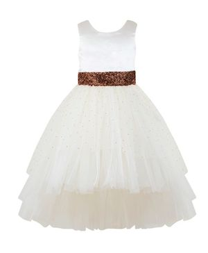 Toy Balloon Sleeveless Embellished High Low Fit & Flared Tulle Dress - Off White