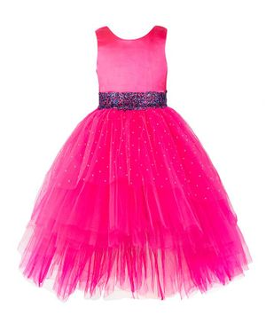 Toy Balloon Sleeveless Embellished High Low Fit & Flared Tulle Dress - Pink