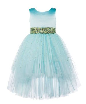 Toy Balloon Sleeveless Embellished High Low Fit & Flared Tulle Dress - Sky Blue