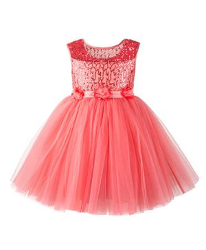 Toy Balloon Sleeveless Sequined Flower Detailed Fit & Flare Netted Dress - Peach