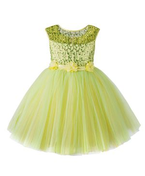 Toy Balloon Sleeveless Sequined Flower Detailed Fit & Flare Netted Dress - Green