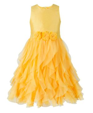 Toy Balloon Sleeveless Waterfall Style Flower Detailed Fit & Flare Dress - Yellow