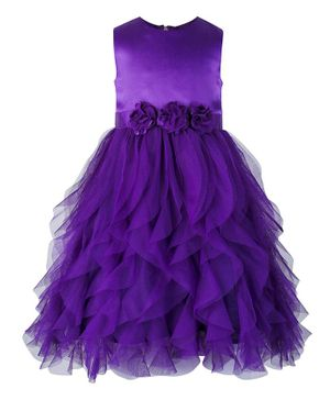 Toy Balloon Sleeveless Waterfall Style Flower Detailed Fit & Flare Dress - Purple