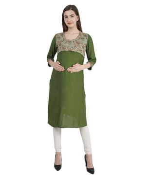 Morph Three Fourth Sleeves Floral Print Maternity Feeding Kurta - Green