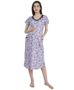 Morph Short Sleeves Floral Print Maternity Nighty - Lavender