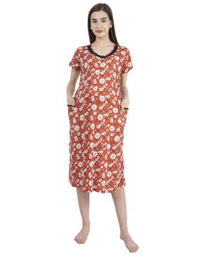 Morph Short Sleeves Floral Print Maternity Nighty - Orange