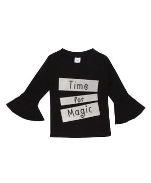 whaou Bell Full Sleeves Time For Magic Print Top - Black