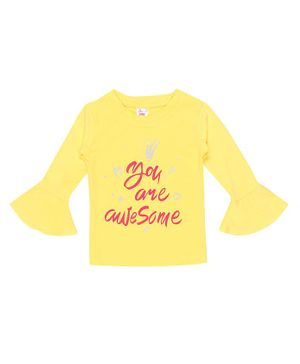 whaou Full Sleeves You Are Awesome Print Top - Yellow