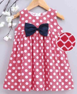 Twetoon Sleeveless Knee Length Frock Polka Dot Print - Red