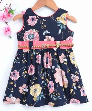 Twetoons Sleeveless Frock with Belt Floral Print - Navy Blue