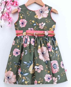 Twetoons Sleeveless Frock with Belt Floral Print - Olive Green