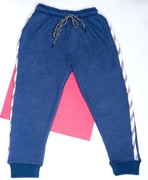 BAATCHEET Full Length Woollen Side Tape Lounge Pants - Blue