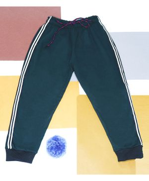 BAATCHEET Full Length Woollen Side Tape Lounge Pants - Green