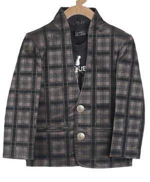 Actuel Full Sleeves Jacquard Checked Velvet Blazer With Half Sleeves T -Shirt - Brown