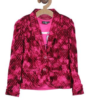 Actuel Full Sleeves Embellished With Pockets Back Hem Blazer With T-Shirt  - Pink