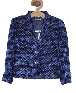 Actuel Full Sleeves Embellished With Pockets Back Hem Blazer With T-Shirt  - Blue