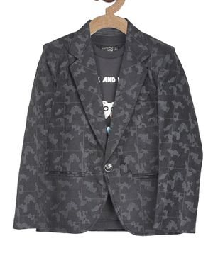 Actuel Full Sleeves Print Blazer With T-Shirt - Black