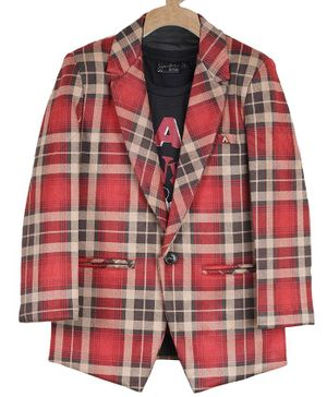 Actuel Full Sleeves Checked Blazer With T-Shirt - Maroon