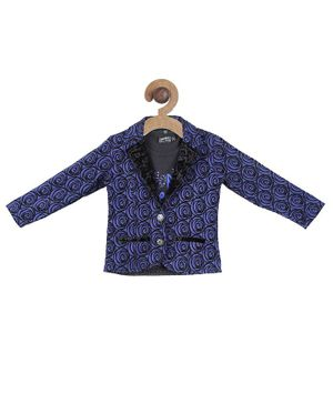 Actuel Full Sleeves Blazer  With I Hope Dream Comes True Print T-Shirt - Blue Black
