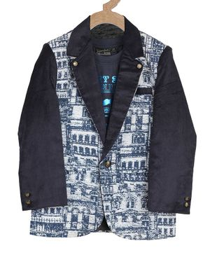 Actuel Full Sleeves Abstract Print Blazer - Blue