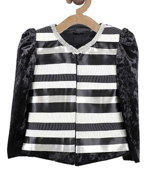 Actuel Striped Full Sleeves Jacket & Solid Tee - Black