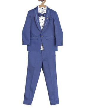 Actuel Full Sleeves Floral Print 3 Piece Party Suit With Detachable Bow - Blue