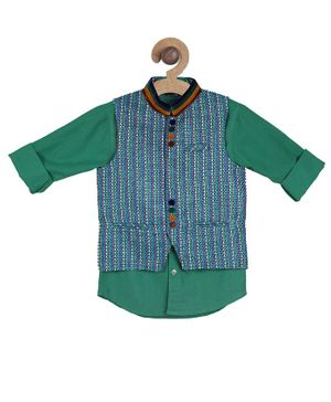 Actuel Full Sleeves Solid Shirt With Patterned Jacket - Green