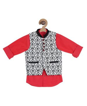 Actuel Full Sleeves Solid Shirt With Jacquard Print Jacket - Red