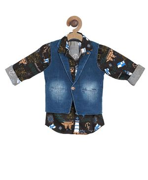 Actuel Full Sleeves Flags Print Shirt With Denim Jacket - Black