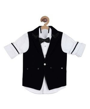 Actuel Full Sleeves Shirt With Waistcoat & Bow - Black