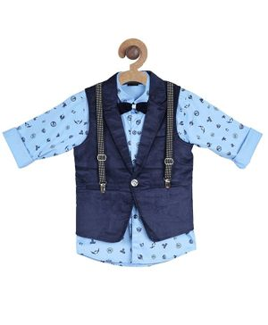 Actuel Full Sleeves All Over Print Shirt With Waistcoat & Bow - Blue