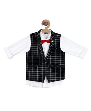 Actuel Full Sleeves Shirt With Checked Waistcoat & Bow - Black