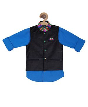 Actuel Full Sleeves Solid Shirt With Contrast Collared Jacket - Blue