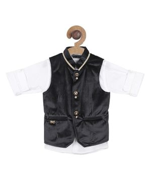 Actuel Full Sleeves Shirt With Waistcoat - Black