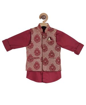 Actuel Full Sleeves Solid Shirt With Block Print Jacket - Maroon