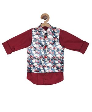 Actuel Full Sleeves Shirt With Floral Print Jacket - Maroon