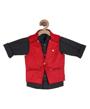 Actuel Full Sleeves Shirt With Waistcoat - Red
