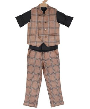 Actuel Full Sleeves Checked 3 Piece Party Suit - Brown