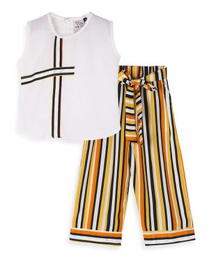 oui oui Sleeveless Stripe Top With Flared Striped Pants - White Yellow