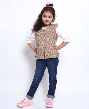 Ikeda Designs Sleeveless Quilted Ruffle Floral Print Jacket - Pink