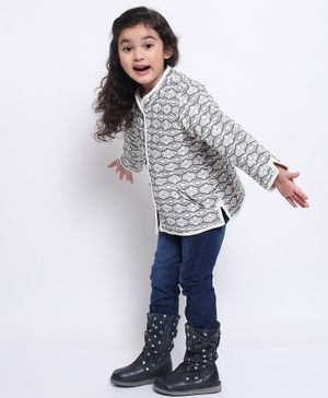 Ikeda Designs Full Sleeves Quilted Block Print Jacket - Grey
