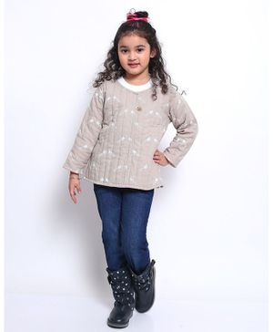 Ikeda Designs Full Sleeves Quilted Bird Print Jacket - Grey