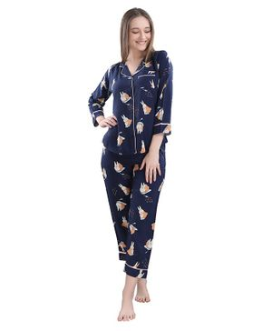 Piu Funny Full Sleeves Bunny Print Maternity Night Suit - Navy Blue