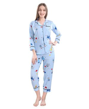 Piu Be Happy Print Full Sleeves Maternity Night Suit - Blue