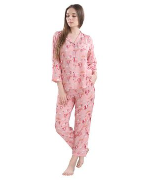 Piu Full Sleeves Hot Air Balloon Print Maternity Night Suit - Pink
