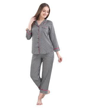 Piu Full Sleeves Checked Maternity Night Suit - Black