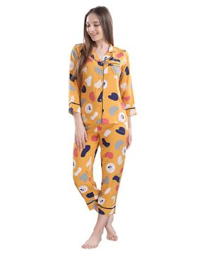 Piu Full Sleeves Abstract Print Maternity Night Suit - Yellow